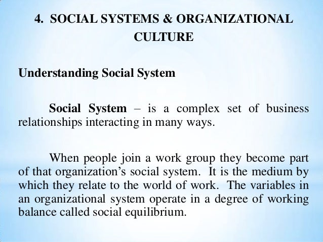 4. SOCIAL SYSTEMS & ORGANIZATIONAL CULTURE Understanding Social System Social System – is a complex set of business relati...