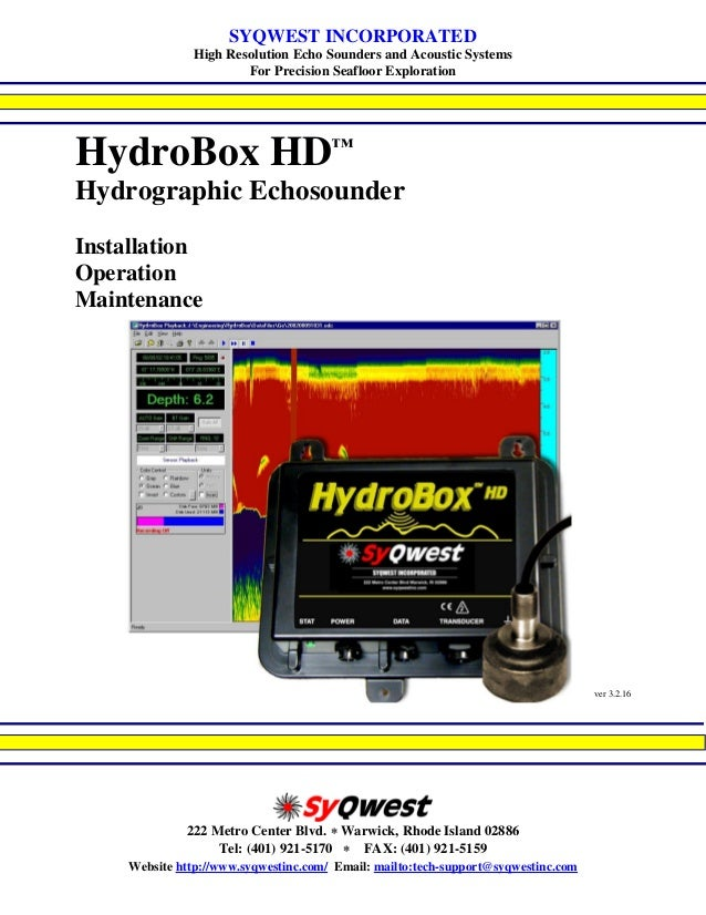 HydroBox HD™ Hydrographic Echosounder Manual