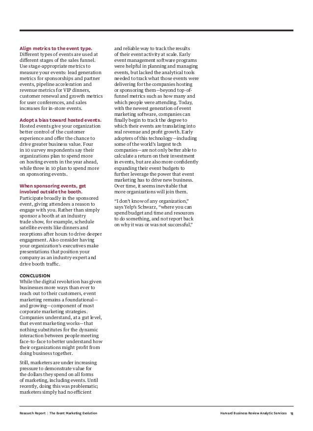 13Harvard Business Review Analytic ServicesResearch Report | The Event Marketing Evolution Align metrics to the event type...