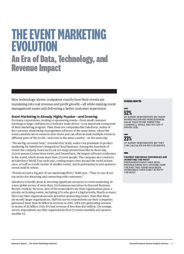 Research Report | The Event Marketing Evolution Harvard Business Review Analytic Services 1 HIGHLIGHTS 52%OF SURVEY RESPON...