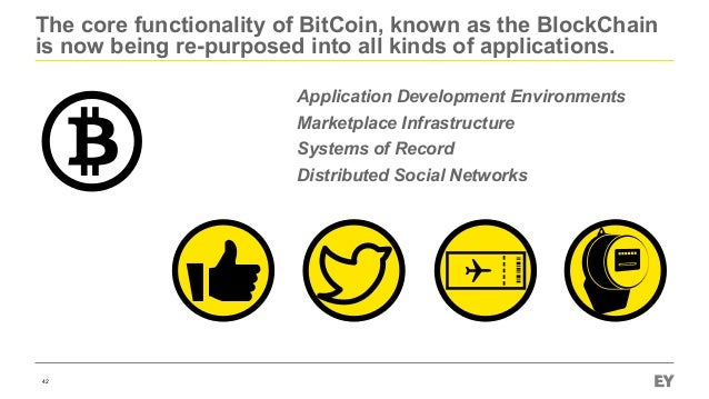 The core functionality of BitCoin, known as the BlockChain is now being re-purposed into all kinds of applications. 42 App...