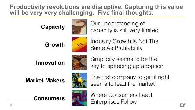 Productivity revolutions are disruptive. Capturing this value will be very very challenging. Five final thoughts. 45 Capac...