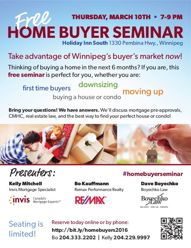 first time buyers Take advantage of Winnipeg's buyer's market now! Thinking of buying a home in the next 6 months? If you ...