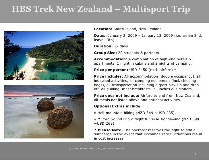 HBS Trek New Zealand – Multisport Trip © 2008 Access Trips, Inc., all rights reserved  <ul><ul><li>Location:  South Island...
