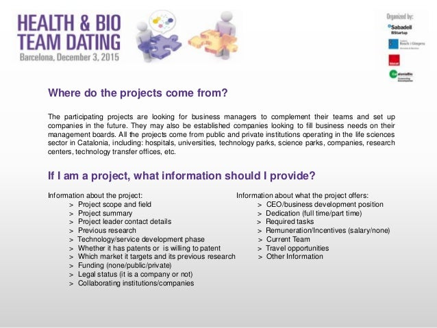 Where do the projects come from? The participating projects are looking for business managers to complement their teams an...