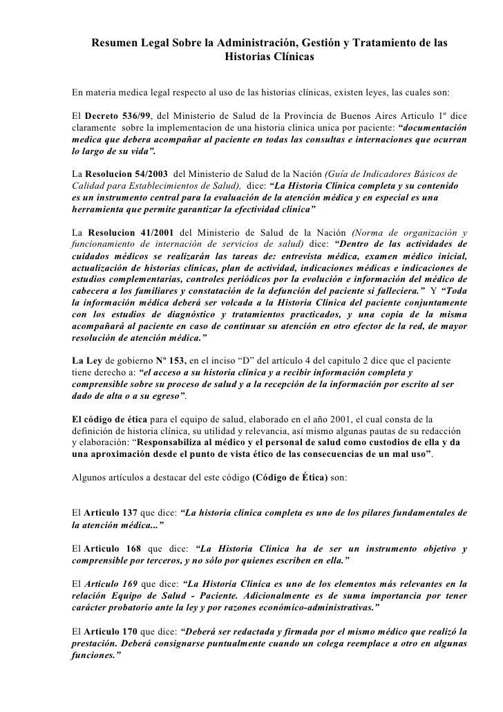 Resumen Legal Sobre la Administración, Gestión y Tratamiento de las                             Historias Clínicas  En mat...