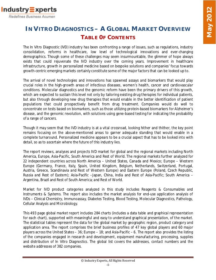 May 2012 IN VITRO DIAGNOSTICS – A GLOBAL MARKET OVERVIEW                                     TABLE 0F CONTENTSThe In Vitro...