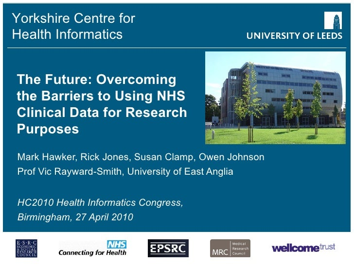The Future: Overcoming the Barriers to Using NHS Clinical Data for Research Purposes Mark Hawker, Rick Jones, Susan Clamp,...