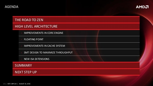 """AMD and the new """"Zen"""" High Performance x86 Core at Hot Chips 28 Slide 2"""