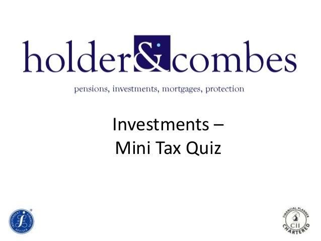 Investments – Mini Tax Quiz