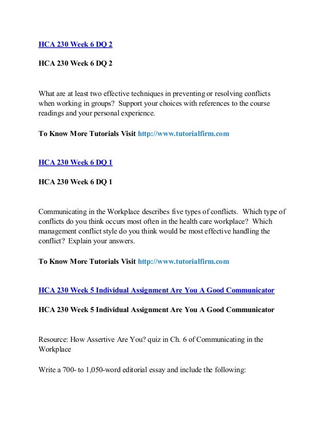 HCA 230 Conflicts Are Important Worksheet