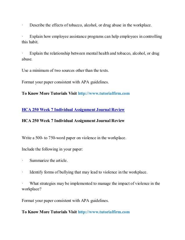 Hca 250 week 6 substnce abuse paper