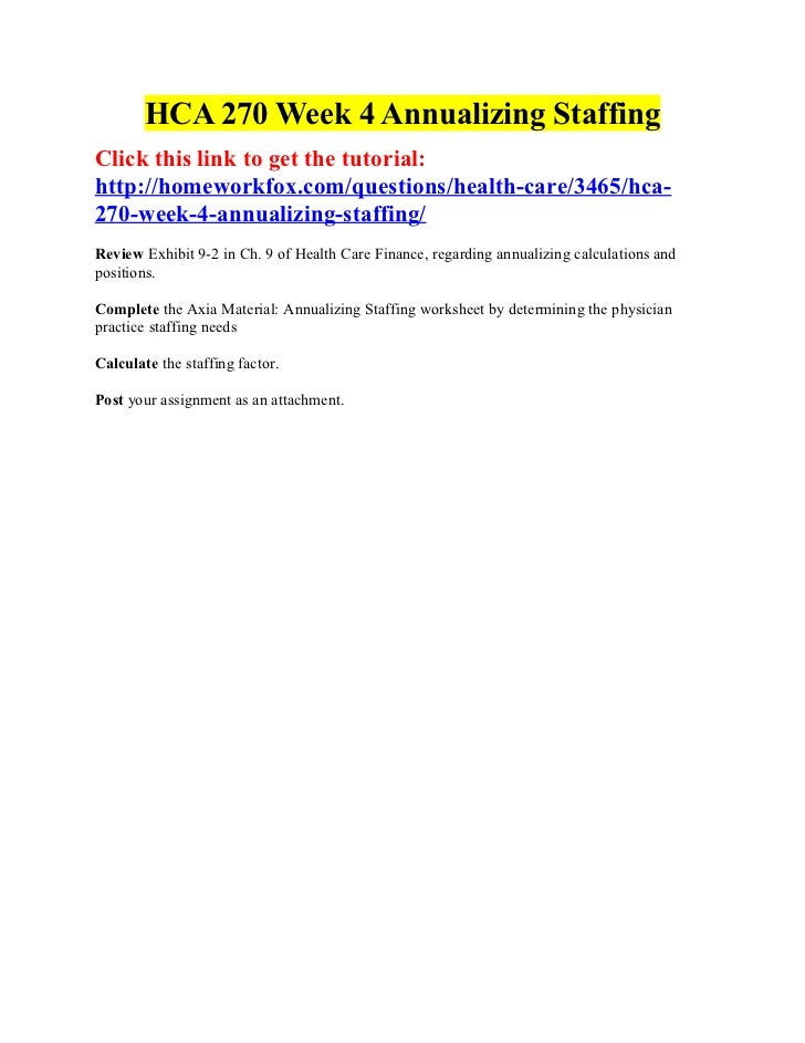 HCA 270 Week 4 Annualizing StaffingClick this link to get the tutorial:http://homeworkfox.com/questions/health-care/3465/h...