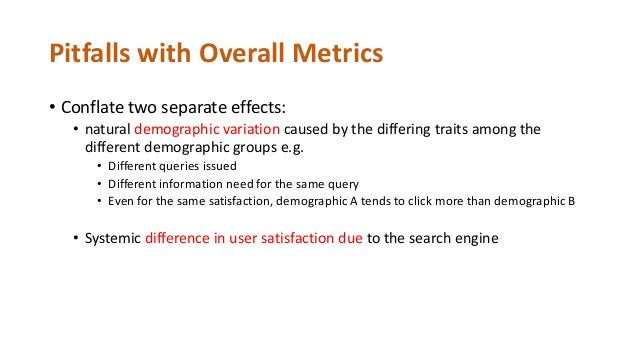 Information Need Demographics Metric User satisfaction Query Search Results Context For any two users from different demog...