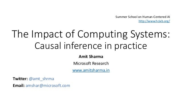 The Impact of Computing Systems: Causal inference in practice Amit Sharma Microsoft Research www.amitsharma.in Twitter: @a...