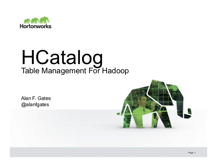 HCatalogTable Management For HadoopAlan F. Gates@alanfgates                              Page 1
