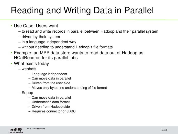Reading and Writing Data in Parallel• Use Case: Users want   – to read and write records in parallel between Hadoop and th...