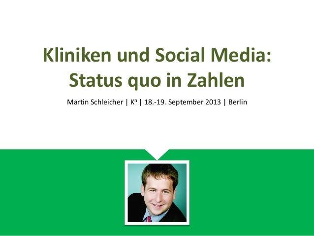 Kliniken und Social Media: Status quo in Zahlen Martin Schleicher | Kn | 18.-19. September 2013 | Berlin