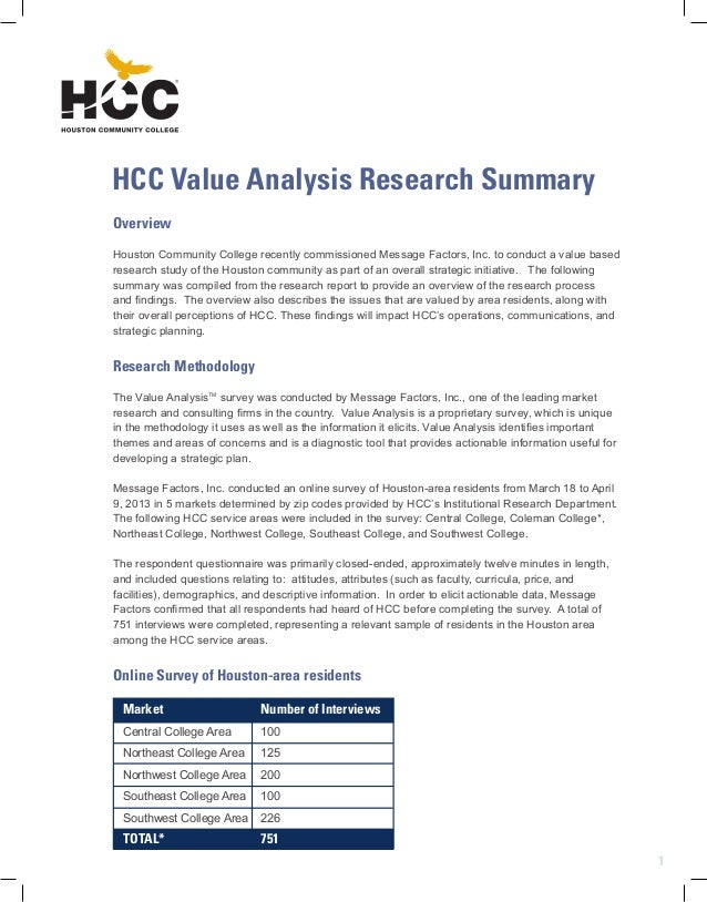 1 Overview Houston Community College recently commissioned Message Factors,  Inc. to conduct a value ...