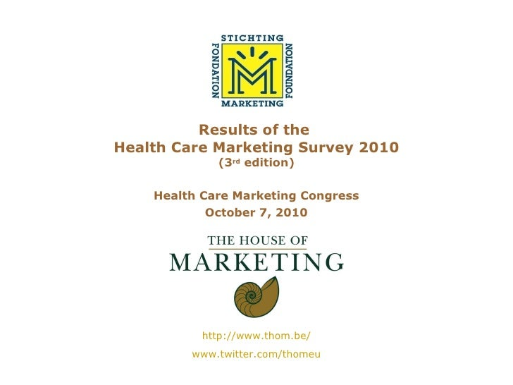 Results of the  Health Care Marketing Survey 2010 (3 rd  edition) Health Care Marketing Congress October 7, 2010 http://ww...