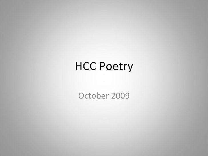 HCC Poetry October 2009