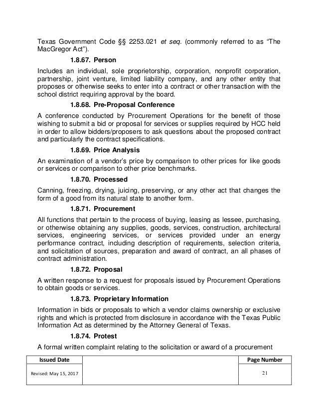 Hcc Procurement Procedures