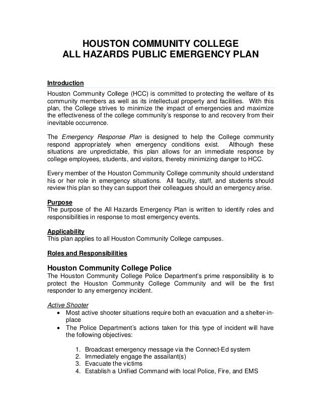 HOUSTON COMMUNITY COLLEGE ALL HAZARDS PUBLIC EMERGENCY PLAN Introduction Houston Community College (HCC) is committed to p...