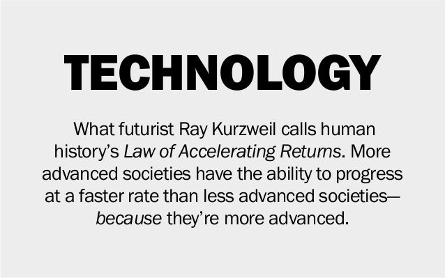 TECHNOLOGY What futurist Ray Kurzweil calls human history's Law of Accelerating Returns. More advanced societies have the ...