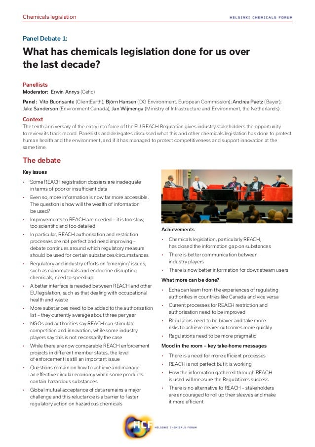 Helsinki Chemicals Forum 2017 Final report Slide 3
