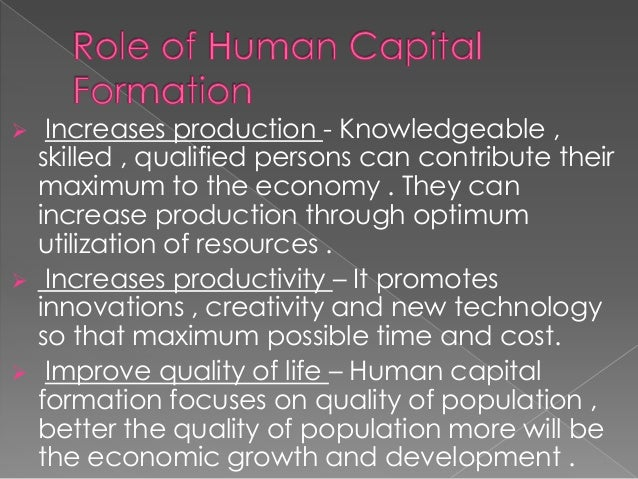 sources of human capital formation Human capital development and its impact on firm performance: in addition, doucouliagos (1997) has noted human capital as a source not only to motivate workers and boost up their commitment but also to create expenditure in r&d and eventually pave a way for the.