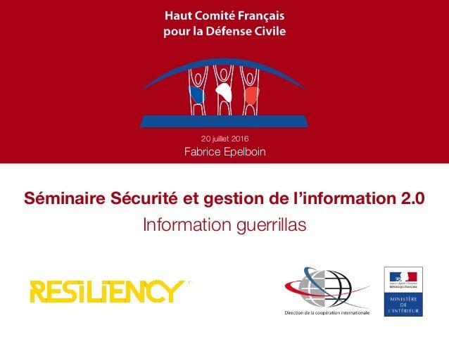 Séminaire Sécurité et gestion de l'information 2.0 20 juillet 2016 Fabrice Epelboin Information guerrillas
