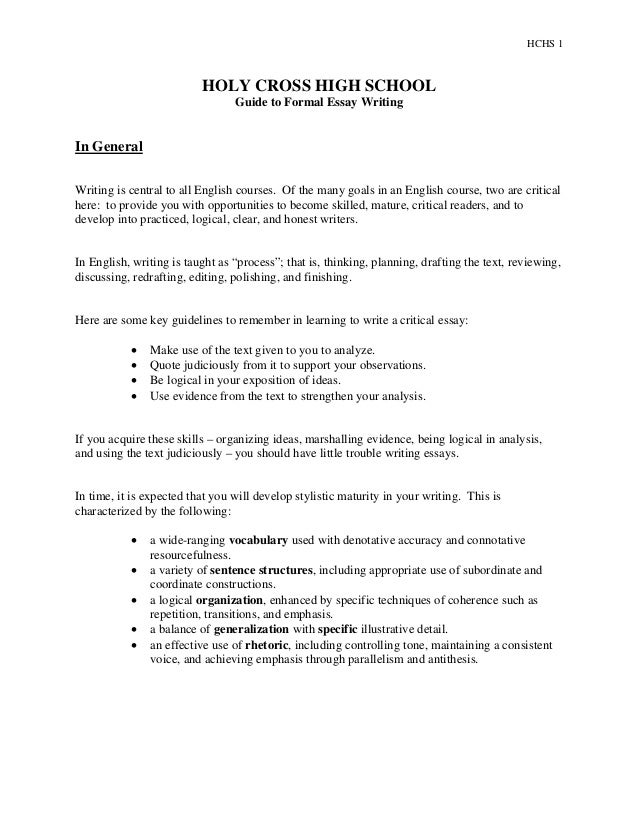 hc formal essay handout revision hchs 1 holy cross high school guide to formal essay writing in general writing is central