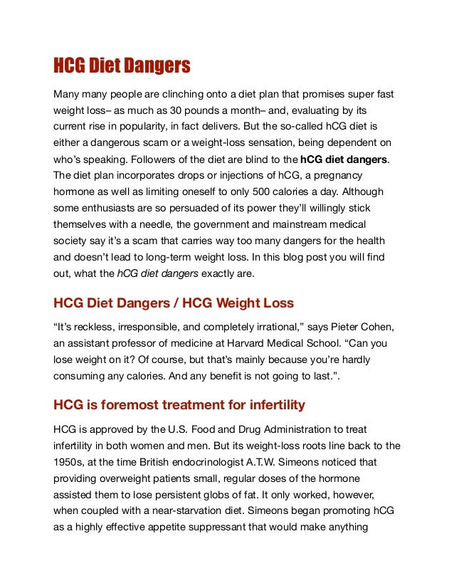 why hcg diet is dangerous