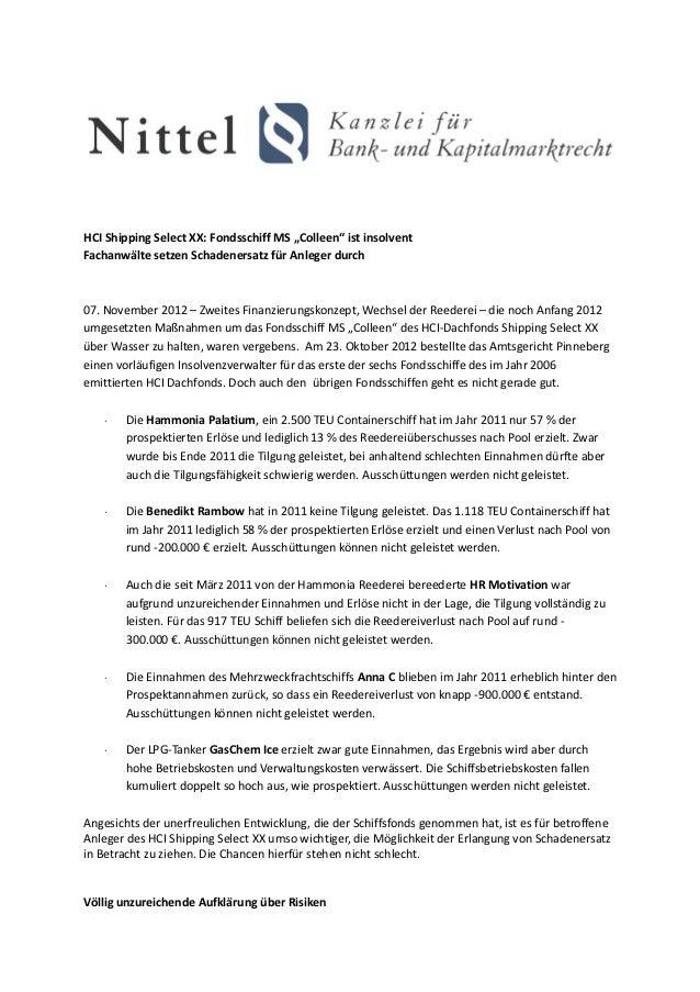 """HCI Shipping Select XX: Fondsschiff MS """"Colleen"""" ist insolventFachanwälte setzen Schadenersatz für Anleger durch07. Novemb..."""