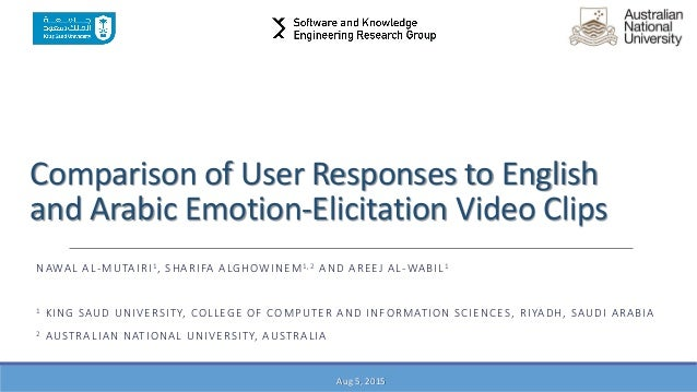 Comparison of User Responses to English and Arabic Emotion-Elicitation Video Clips NAWAL AL-MUTAIRI1, SHARIFA ALGHOWINEM1,...