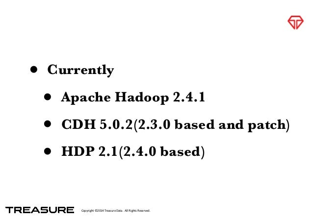 Copyright*©2014*Treasure*Data.**All*Rights*Reserved. • Currently • Apache Hadoop 2.4.1 • CDH 5.0.2(2.3.0 based and patch) ...