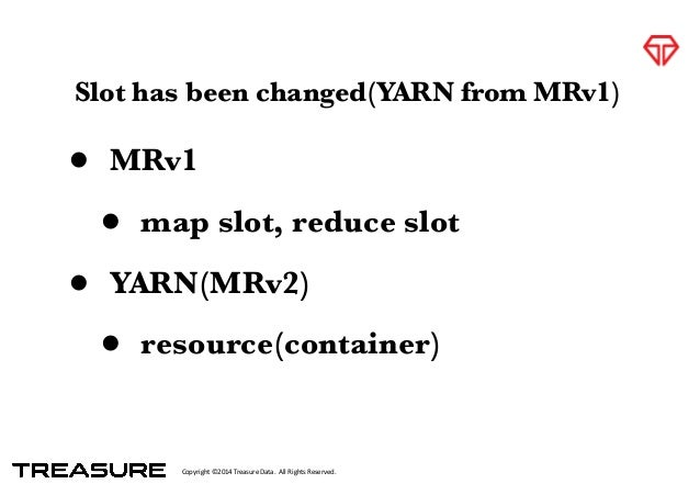 Copyright*©2014*Treasure*Data.**All*Rights*Reserved. Slot has been changed(YARN from MRv1) • MRv1 • map slot, reduce slot ...