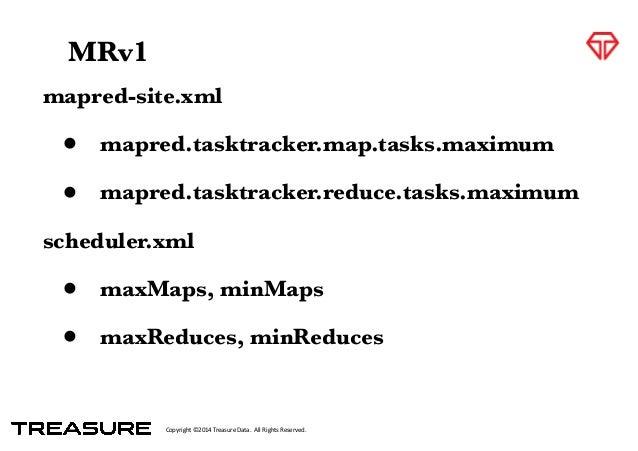Copyright*©2014*Treasure*Data.**All*Rights*Reserved. mapred-site.xml • mapred.tasktracker.map.tasks.maximum • mapred.taskt...