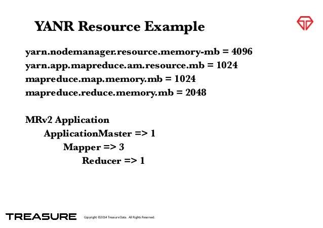 Copyright*©2014*Treasure*Data.**All*Rights*Reserved. yarn.nodemanager.resource.memory-mb = 4096 yarn.app.mapreduce.am.reso...