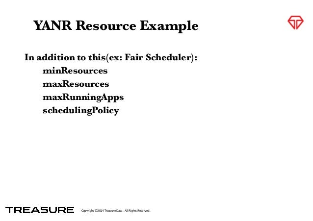Copyright*©2014*Treasure*Data.**All*Rights*Reserved. In addition to this(ex: Fair Scheduler):  minResources  maxResource...