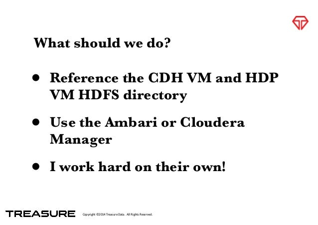 Copyright*©2014*Treasure*Data.**All*Rights*Reserved. What should we do? • Reference the CDH VM and HDP VM HDFS directory •...