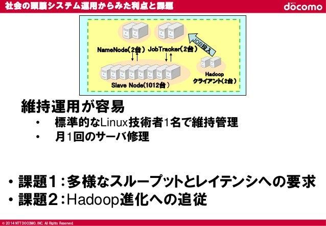 © 2008 NTT DOCOMO, INC. All rights reserved.© 2014 NTT DOCOMO, INC. All Rights Reserved. 社会の頭脳システム運用からみた利点と課題 NameNode(2台)...