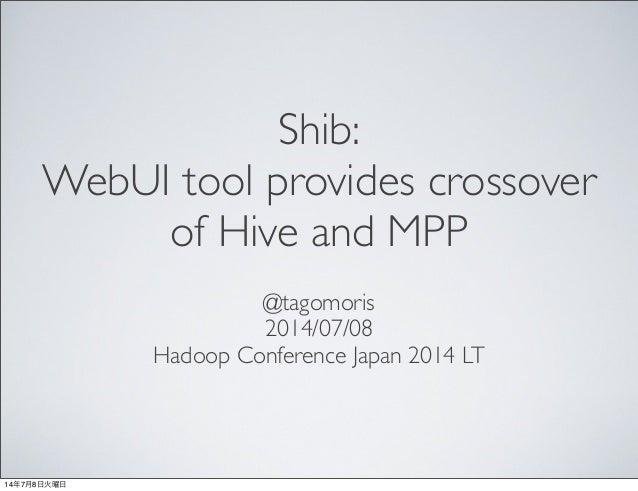Shib: WebUI tool provides crossover of Hive and MPP @tagomoris 2014/07/08 Hadoop Conference Japan 2014 LT 14年7月8日火曜日