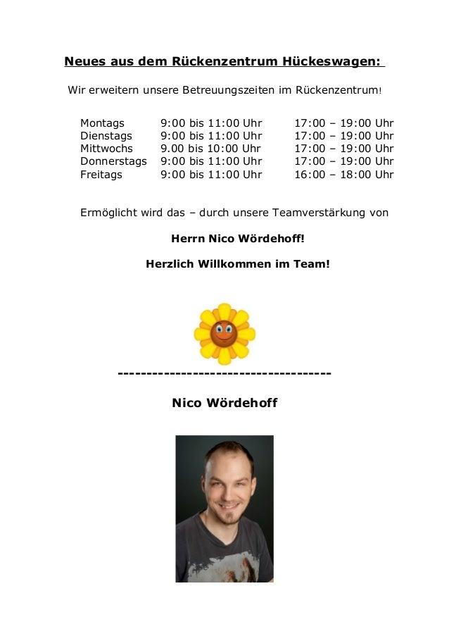 Neues aus dem Rückenzentrum Hückeswagen:Wir erweitern unsere Betreuungszeiten im Rückenzentrum!Montags 9:00 bis 11:00 Uhr ...