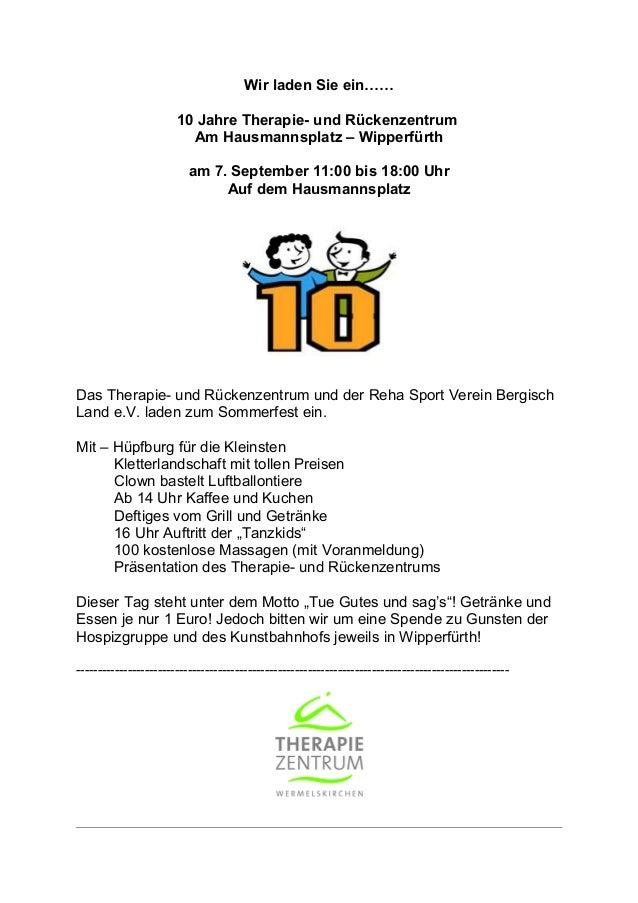 Wir laden Sie ein…… 10 Jahre Therapie- und Rückenzentrum Am Hausmannsplatz – Wipperfürth am 7. September 11:00 bis 18:00 U...