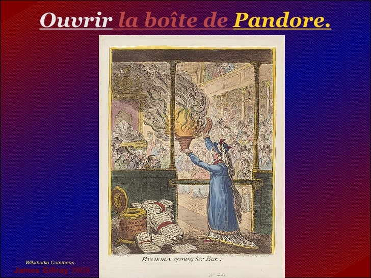 Ouvrir la boîte de Pandore.       Wikimedia Commons James Gillray 1809