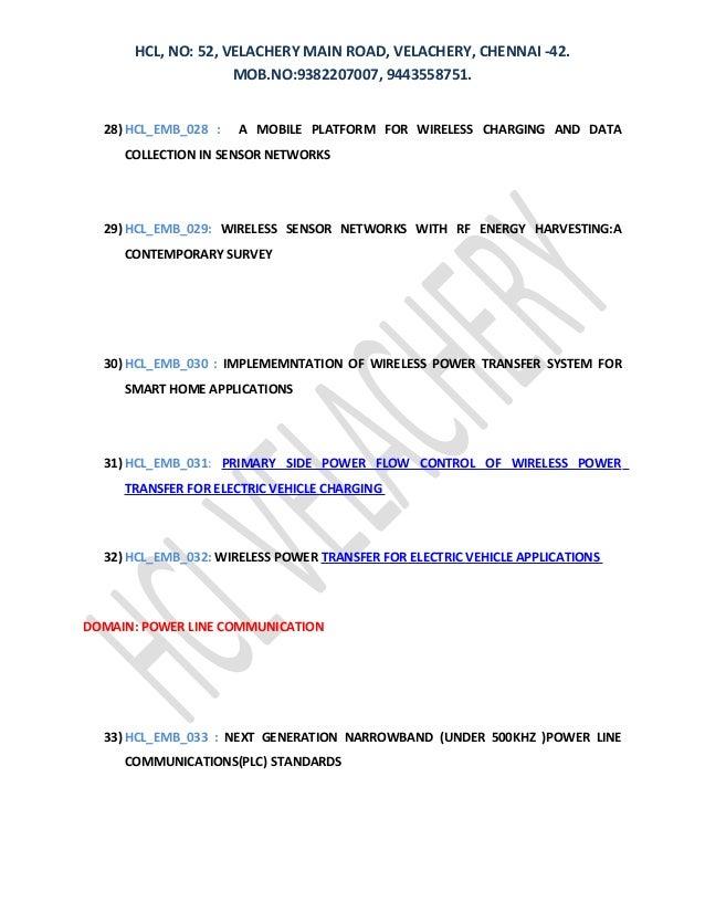 HCL, NO: 52, VELACHERY MAIN ROAD, VELACHERY, CHENNAI -42. MOB.NO:9382207007, 9443558751. 28) HCL_EMB_028 : A MOBILE PLATFO...
