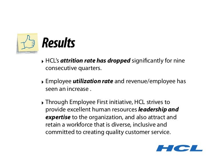 Results ‣ HCL's attrition rate has dropped significantly for nine   consecutive quarters.  ‣ Employee utilization rate and ...