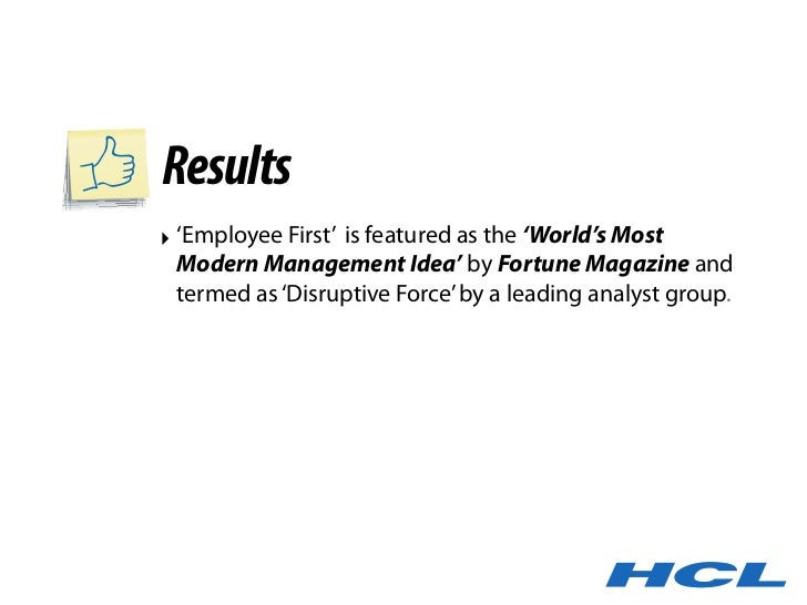 Results ‣ 'Employee First' is featured as the 'World's Most   Modern Management Idea' by Fortune Magazine and   termed as ...
