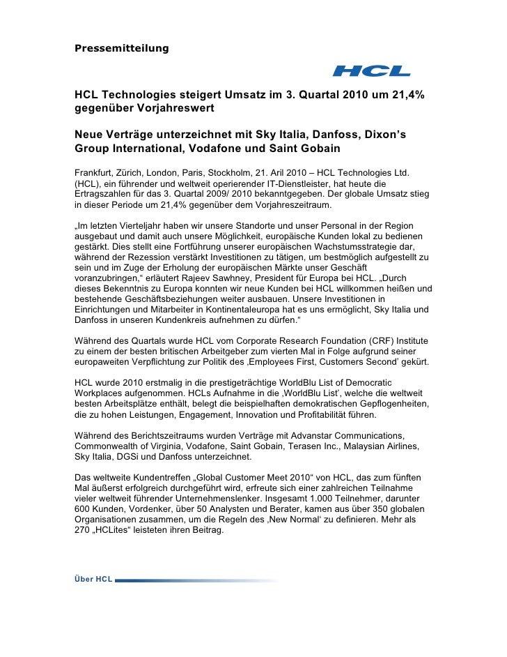 Pressemitteilung    HCL Technologies steigert Umsatz im 3. Quartal 2010 um 21,4% gegenüber Vorjahreswert  Neue Verträge un...